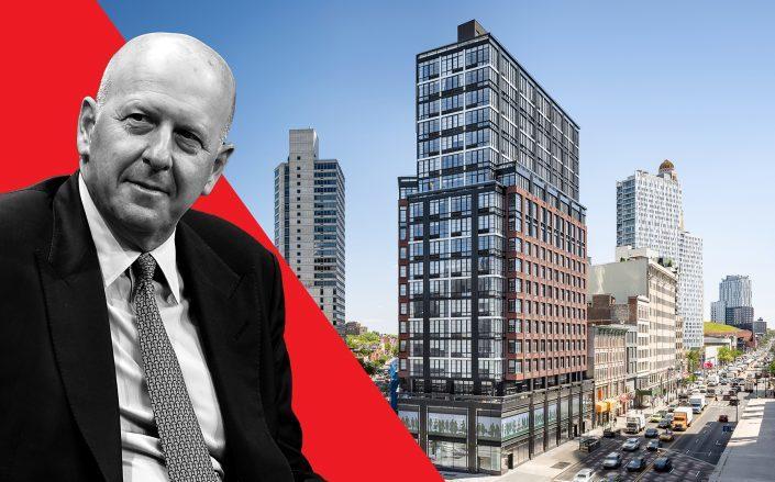 Goldman CEO David Solomon and 1 Flatbush Avenue (Credit: Michael Kovac/Getty Images; Hill West Architects)