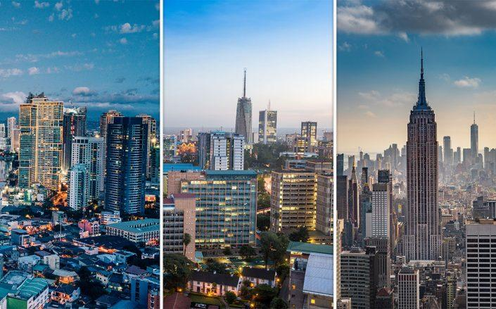 Manila skyline, Nairobi skyline, New York skyline