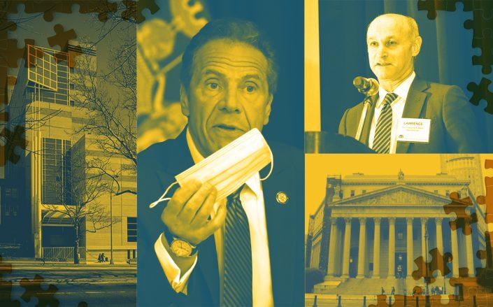 Clockwise from left: Bronx housing court at 1118 Grand Concourse, Governor Andrew Cuomo, Judge Lawrence Marks, New York Supreme Court at 60 Centre Street (Getty; Google Maps; Wikipedia; New York State Courts)