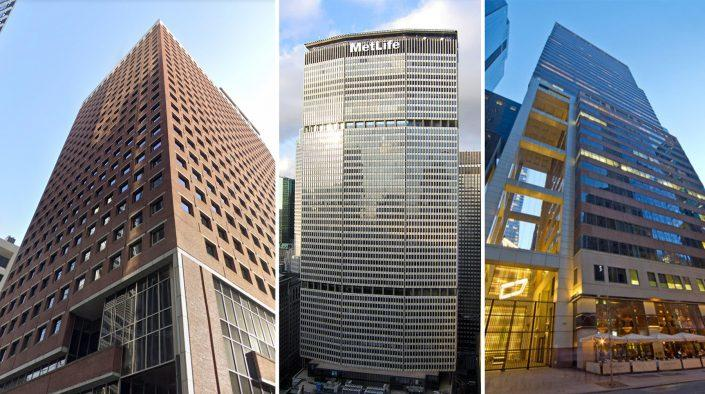April's top leases included a new 242,000-square-foot lease for the SEC at 100 Pearl Street, a 130,000-square-foot renewal for BNY Mellon at 200 Park Avenue, and a 78,000-square-foot renewal for D.E. Shaw & Co. L.P. at 120 West 45th Street (Credit: Google Maps; Postdlf via Wikipedia; Tower 45)
