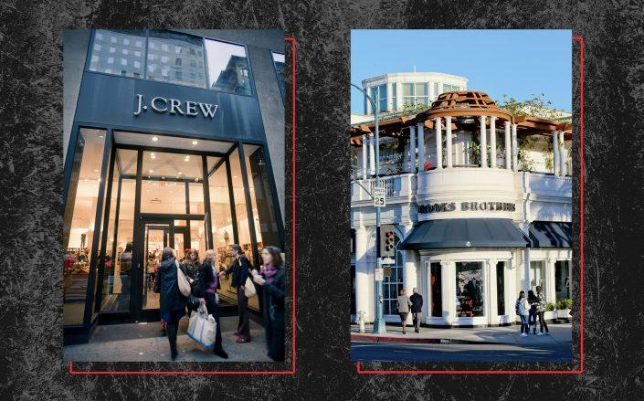 A J. Crew storefront on Madison Avenue in New York and a Brooks Brothers store in Beverly Hills, California (Credit: Richard Levine/Corbis and FG/Bauer-Griffin/GC Images)