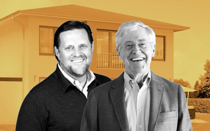 Sean Dobson of Amherst Holdings CEO and Charles Koch of Koch Real Estate Investments (Credit: Twitter; Koch by Patrick T. Fallon for The Washington Post via Getty Images)