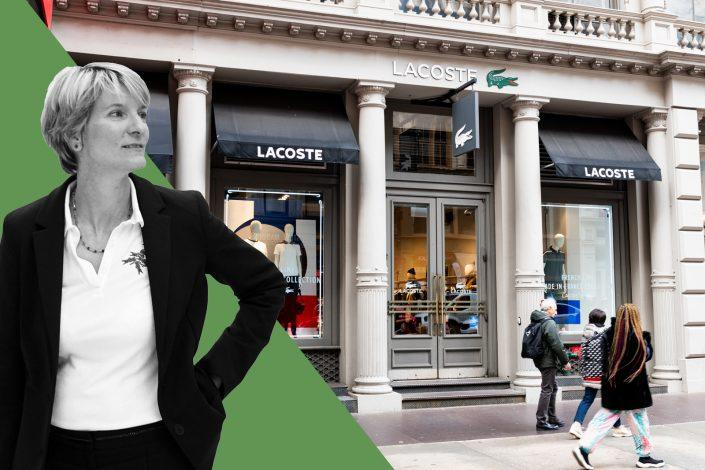 Lacoste USA's chief financial officer Karine Sansot-Vincent and a Lacoste store in Soho, New York (Jimi Celeste/Patrick McMullan via Getty Images and Michael Brochstein/SOPA Images/LightRocket via Getty Images)