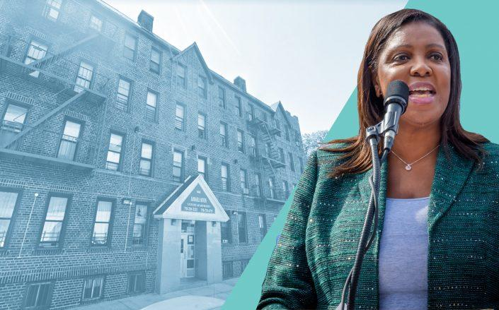 144-06 88th Avenue in Queens and Attorney General Letitia James (Google Maps; James byErik McGregor/LightRocket via Getty Images)