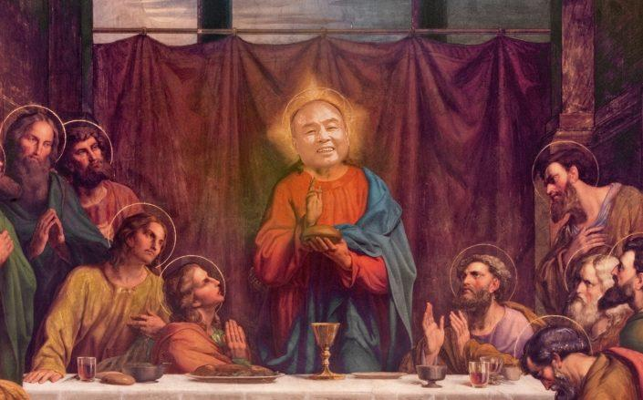 Photo illustration of Softbank CEO Masayoshi Son in The Last Supper (Illustration by The Real Deal)