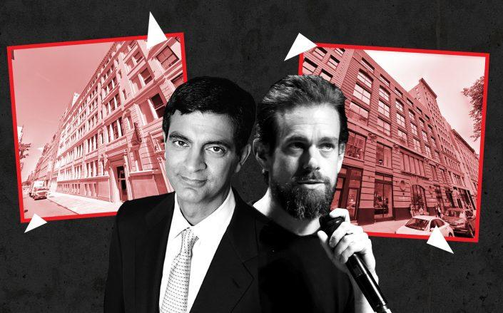 WeWork CEO Sandeep Mathrani with WeWork's headquarters at 115 West 18th Street and Twitter CEO Jack Dorsey with Twitter headquarters at 247 West 18th Street (Credit: Google Maps; Getty Images)