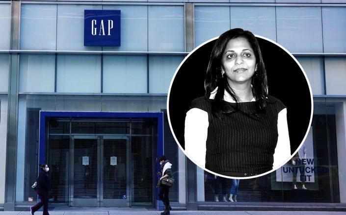 Gap CEO Sonia Syngal said the company plans to reopen with fewer Gap brand stores (Credit: Syngal via Marc Piasecki/Getty Images; Cindy Ord/Getty Images)