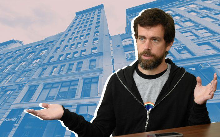 Twitter CEO Jack Dorsey and 245-249 West 17th Street (Photo by Burhaan Kinu/Hindustan Times via Getty Images)