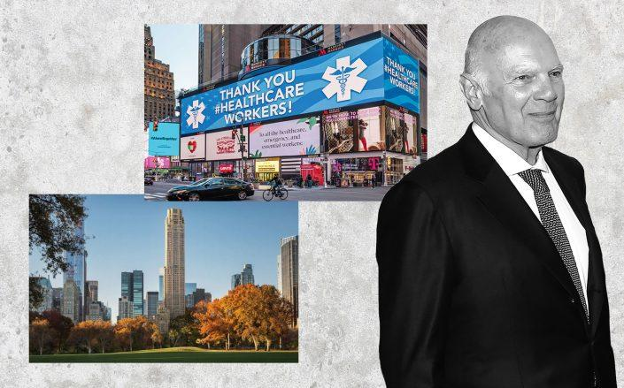 Vornado CEO Steven Roth with 220 Central Park South (left) the Marriott Marquis at 1535 Broadway (Credit: Roth via Taylor Hill/FilmMagic; Vornado; StreetEasy)