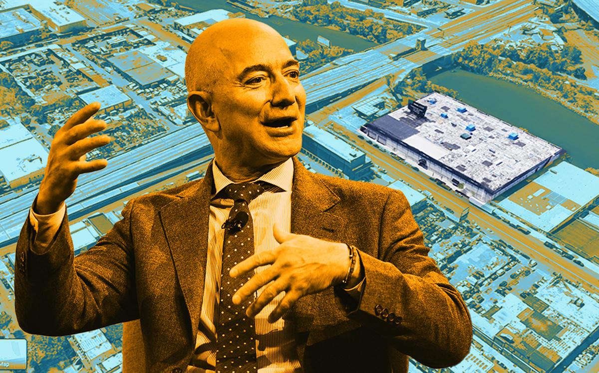 Jeff Bezos and 1055 Bronx River Ave (Getty, Google Maps)