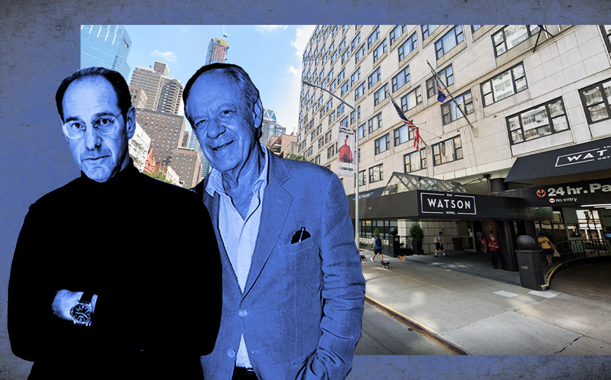 Richard Born, Ira Drukier and Watson Hotel at 440 West 57th Street (Born by Studio Scrivo, Drukier by Patrick McMullan/Getty)