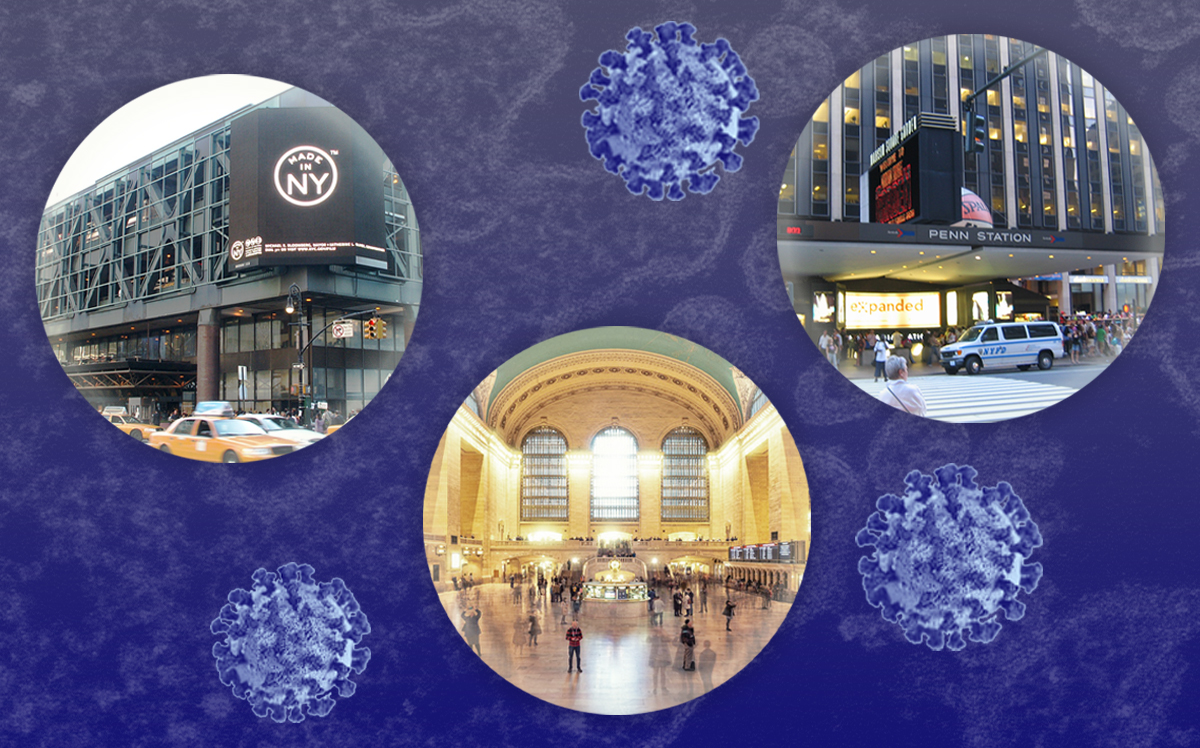 From left: Port Authority Bus Terminal, Grand Central and Penn Station (Wikipedia, Pixabay, CDC)