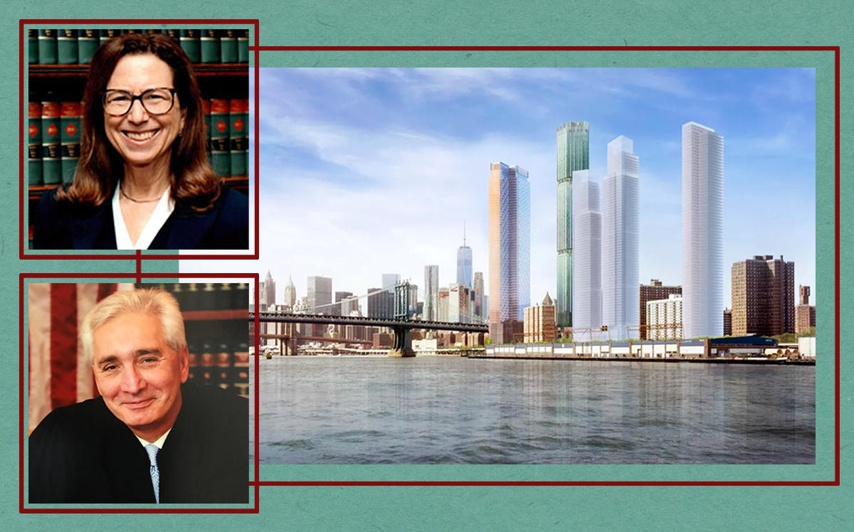 Justices Ellen Gesmer and Anil Singh with a Two Bridges Rendering (NY Courts)