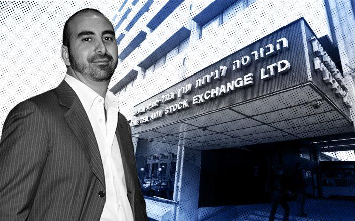 Alex Sapir and the Tel Aviv Stock Exchange (Sapir by Clint Spaulding/Patrick McMullan via Getty Images, Jack Guez/AFP)