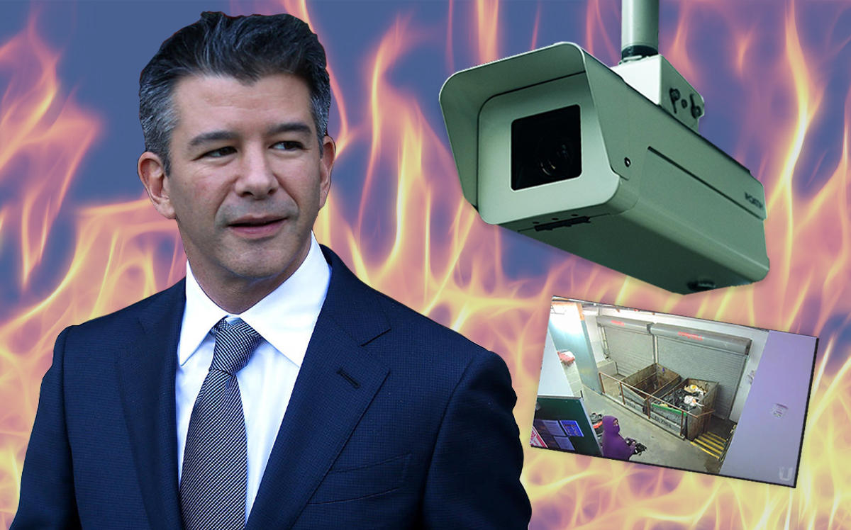 Travis Kalanick and surveillance footage from one of the suspected arson attacks (Getty, Twitter/CloudKitchens)