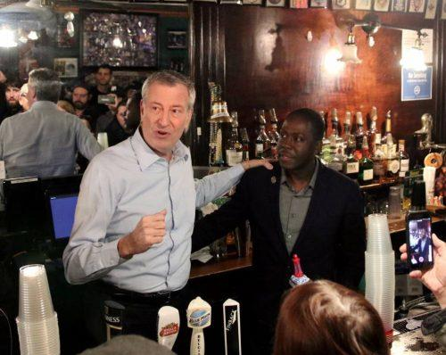 Bill de Blasio at Neir's Tavern at 87-48 78th Street in Woodhaven