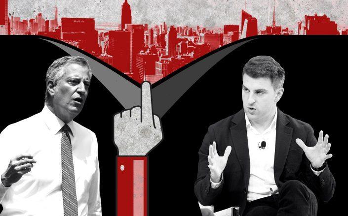 Mayor Bill de Blasio and Airbnb CEO Brian Chesky (Getty, iStock)