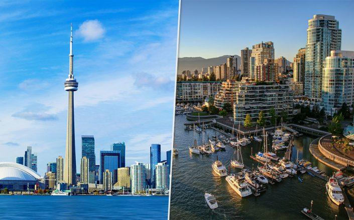 Toronto and Vancouver skylines (Credit: iStock)
