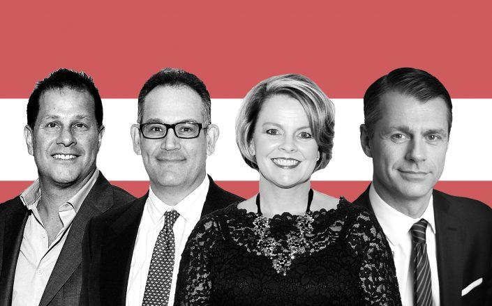 Authentic Brands Group CEO Jamie Salter, Simon Property Group CEO David Simon, J.C. Penney CEO Jill Soltau and Brookfield Property Partners CEO Brian Kingston (Getty)