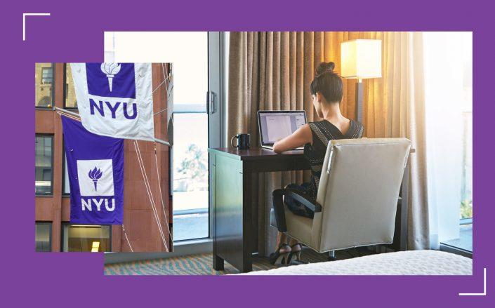 New York University may lease thousands of hotel rooms near its Greenwich Village campus to maintain social distance between students. (iStock, Wikipedia Commons)