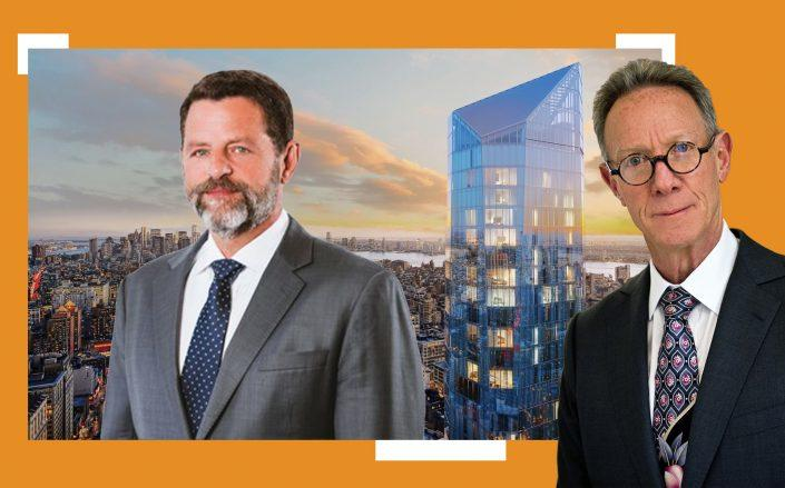 Plaza Construction's Richard Wood and Ian Bruce Eichner with 45 East 22nd Street (Courtesy StreetEasy, Plaza Construction)