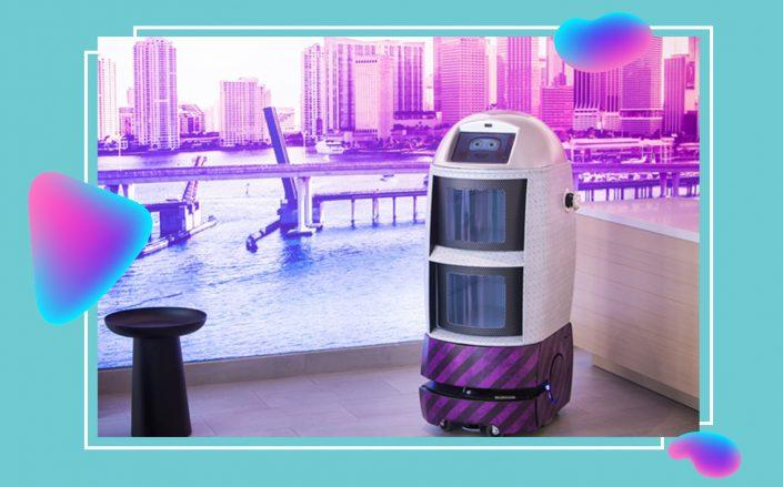 Hoteliers are deploying tons of new tech, such as Yotel's Robot Butler to meet government regulations and ease guests' fears. (Yotel Pad Miami)