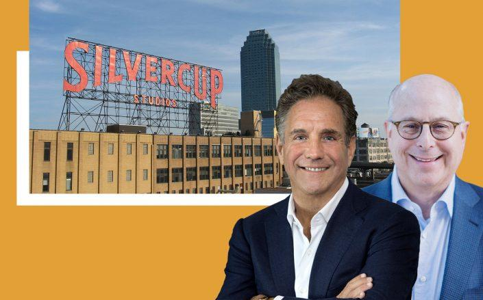Square Mile Capital's Craig Solomon and Hackman Capital Partner's Michael Hackman with Silvercup Studios at 42-22 22nd Street in Long Island City (Hackman; AAK via Wikipedia Commons)