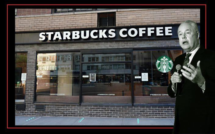 A closed Starbucks store and Starbucks CEO Kevin Johnson (Getty)