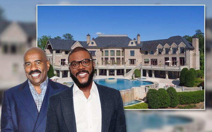Steve Harvey and Tyler Perry with the house (Credit: Jim Spellman/WireImage and Cindy Ord, via Getty Images