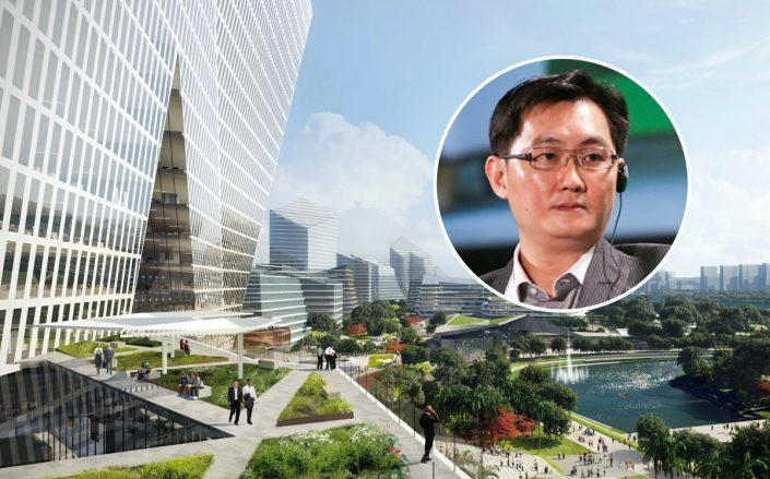 Tencent CEO Ma Huateng and a rendering of Net City (Wikipedia Commons)