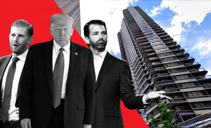 Eric Trump, Donald Trump, and Donald Trump Jr. with Trump Plaza at 167 East 61st Street (Getty Images, Google Maps)
