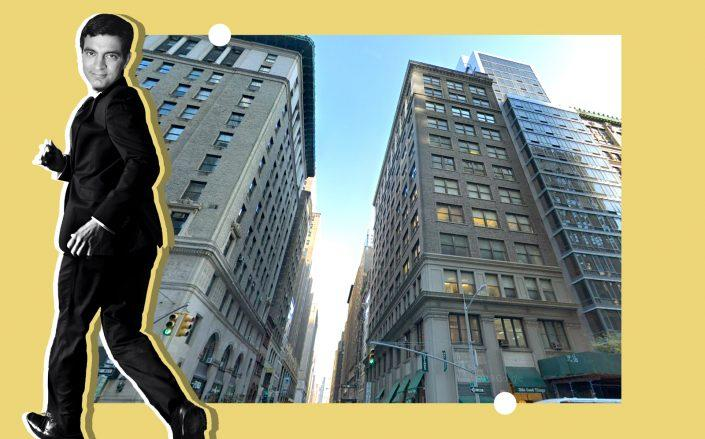 A photo illustration of WeWork CEO Sandeep Mathrani and 149 Madison Avenue (Google Maps, Getty)