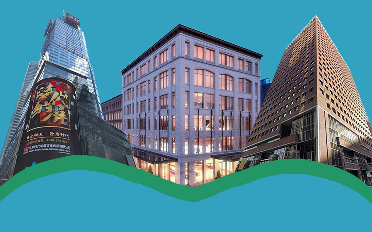Major new leases of Q2 2020 included the SEC's 241,000 sq ft lease at 100 Pearl Street (Downtown), Match Group's 41,000 sq ft lease at 60-74 Gansevoort (Midtown South) and TikTok's 232,000 sq ft lease at 151 West 42nd Street (Midtown) (Google Maps, BKSK Architects)