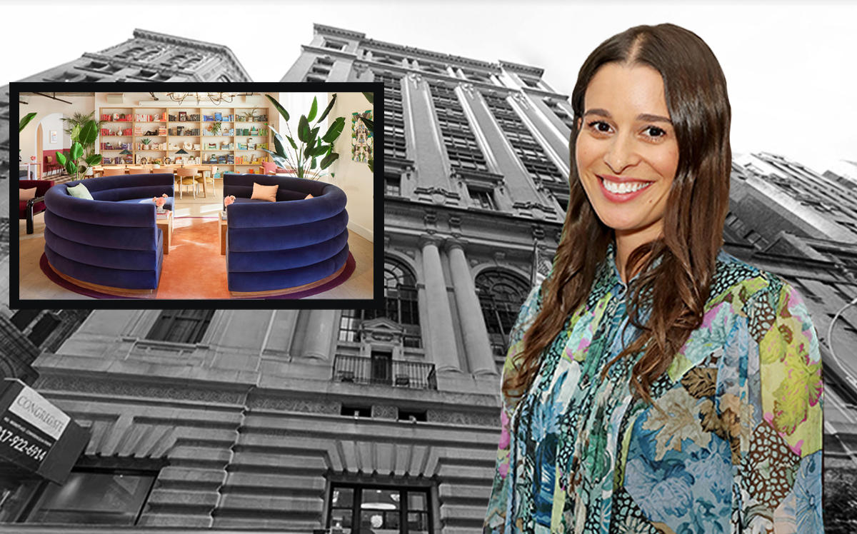 The Wing Bryant Park at 25 West 39th Street and The Wing co-founder Lauren Kassan (Getty, Google Maps, The Wing)