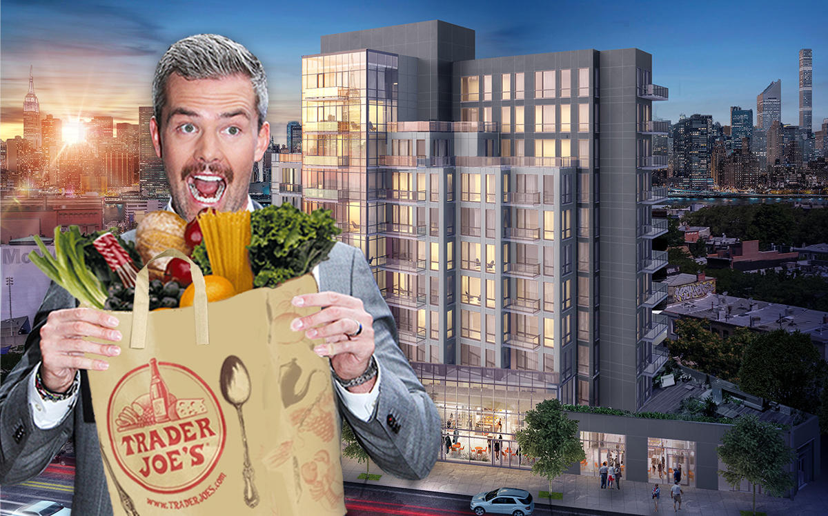 Photo illustration of Ryan Serhant and  22-43 Jackson Avenue (Getty, Trader Joe's)