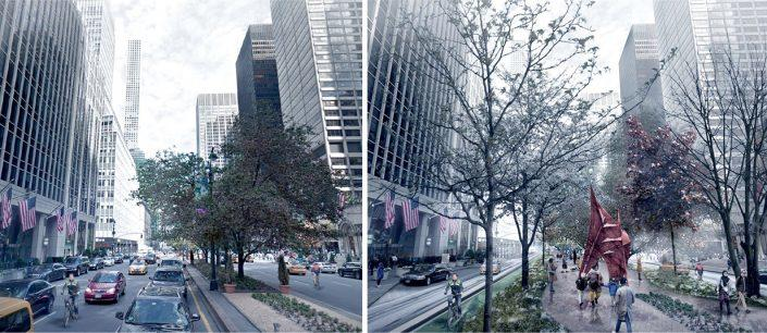 A redesigned Park Avenue could expand the median into a wide pedestrian promenade (Credit: PAU)