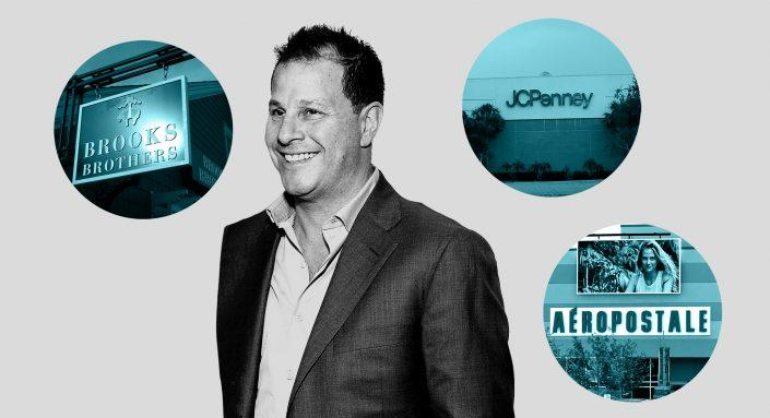 Authentic Brands Group CEO Jamie Salter with Brooks Brothers, J.C. Penney, and Aeropostale stores (Getty)