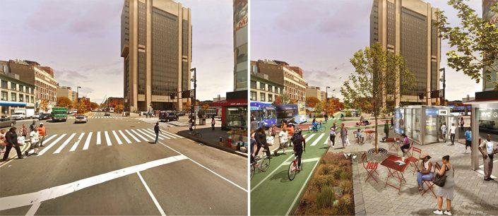 Before and after pedestrianizing Adam Clayton Powell Jr. Boulevard at 125th Street (Credit: PAU)
