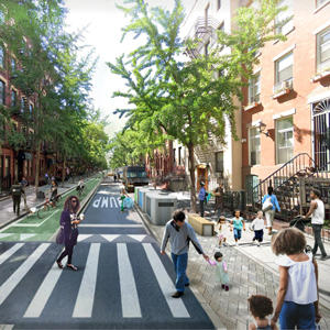 If parking was removed and private cars banned on West 45th Street (Credit: PAU)