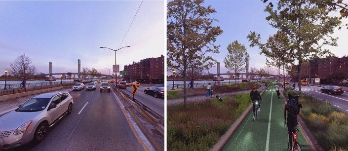 PAU proposes expanding the greenway that runs along FDR Drive to connect it to the greenway on the west side, creating a pedestrian path around the island's perimeter. (Credit: PAU)