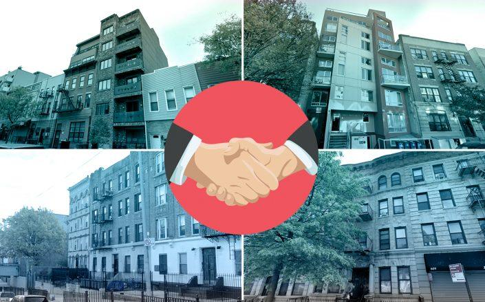 Clockwise from top left: 871 Grand Street, 392 St. Marks Avenue, 607 Franklin Avenue and 600 Park Place in Brooklyn (Credit: Google Maps; iStock)