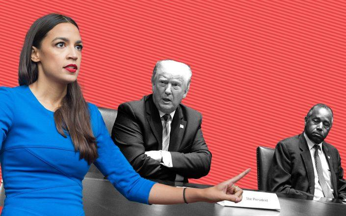New York Rep. Alexandria Ocasio-Cortez, President Donald Trump and HUD Secretary Ben Carson (Getty)