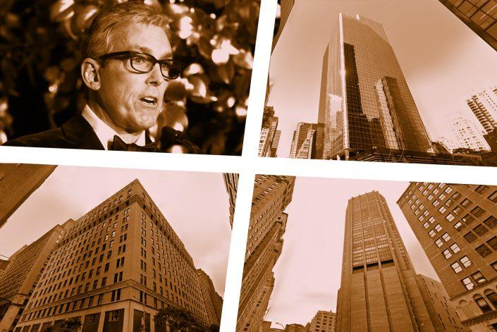 Clockwise from left: Charles Cohen, 805 Third Avenue, 3 Park Avenue South and the Decoration & Design Center at 200 Lexington Avenue (Getty, Google Maps)