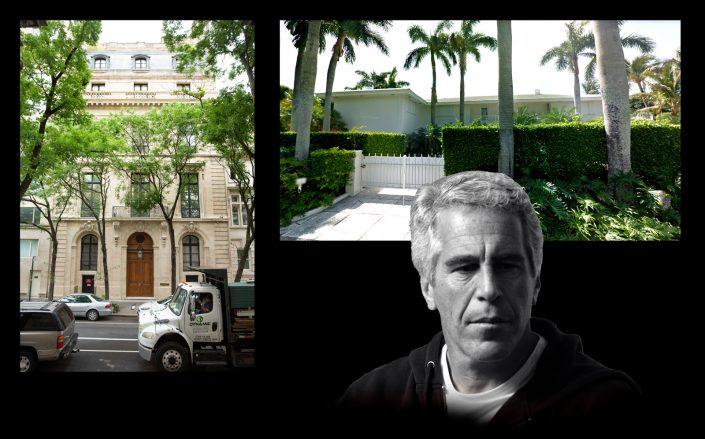 Jeffrey Epstein and his former homes in New York and Palm Beach (Getty, Google Maps)