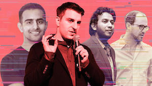 From left: Zeus Living CEO Kulveer Taggar, Airbnb CEO Brian Chesky, Oyo founder Ritesh Agarwal and Lyric CEO Andrew Kitchell (Getty, iStock)