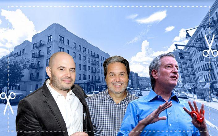 Joy Construction's Eli Weiss, Maddd Equities' Jorge Madruga, and Mayor Bill de Blasio (Google Maps, Getty)