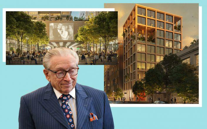 Larry Silverstein of Silverstein Properties with renderings of the project (Getty, ODA)