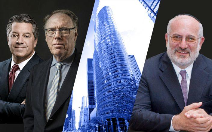 From left: SL Green CEO Marc Holliday, Ceruzzi Properties' Arthur Hooper, the Lipstick Building at 885 Third Avenue and IRSA president Eduardo Elsztain (Getty, Wikipedia, Google Maps)