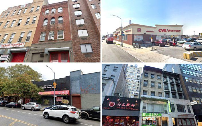 Clockwise from left: 432 West 19th Street, 61-15 Metropolitan Avenue in Ridgewood, 45 West 39th Street and 1518 Macombs Road in the Bronx (Google Maps)