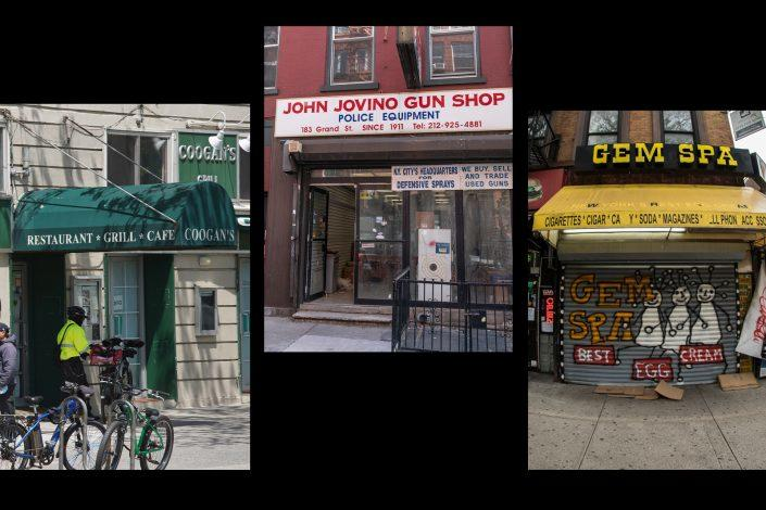 Coogan's Irish pub in Washington Heights, John Jovino Gun Shop in Little Italy, and Gem Spa in East Village (Getty)